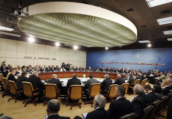 NATO Secretary General Rasmussen attends a NATO defence ministers meeting in Brussels