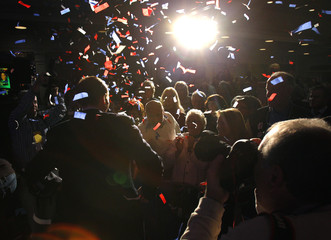 Democratic U.S. Senate candidate from Connecticut Richard Blumenthal celebrates his victory at an election night rally in Hartford