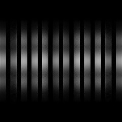 abstract stripes of the balls. vertical lines circles. black background. halftone effect. vector illustration