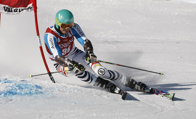 Neureuther of Germany skis during the first leg in the Men's World Cup Slalom skiing race in Val d'Isere