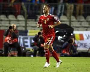 Belgium's Eden Hazard celebrates his goal  during their Euro 2016 qualification match against Bosnia at the King Baudouin stadium in Brussels