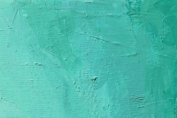 Oil painting knife's technique effect abstract art background in bright aqua green color. Abstract painted canvas.Hand painted texture background.