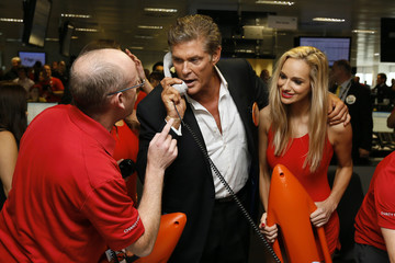 American actor David Hasselhoff takes part in a trade on the trading floor of BGC Partners in London