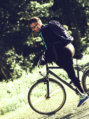 Man driving bike. recreation