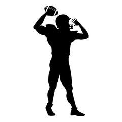 american football player uniform helmet ball silhouette vector illustration