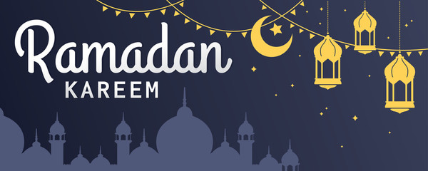 Ramadan Kareem horizontal vector banner, text in left with lantern and Mosque. Ramadan Kareem ads, flyer, invitation, greeting card. Islamic background.