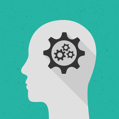 Human head with gears as thinking and mind concept. Flat design with long shadow.
