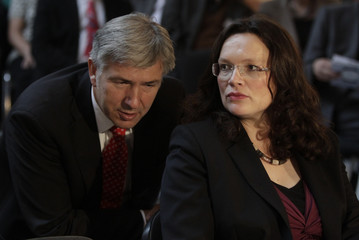 German SPD party secretary general Nahles chats with party colleague Wowereit during SPD event in Berlin