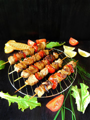 Cooked shashlik made of meat with vegetables lying on the lattice grill