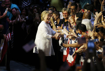 Democratic U.S. presidential candidate Hillary Clinton greets supporters at her California primary night rally held in the Brooklyn borough of New York