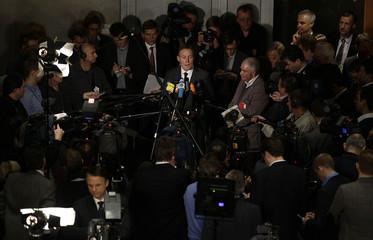Parliamentary SPD faction leader Oppermann addresses media in Berlin