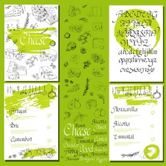 Vector illustrated Set Cheese Menu.