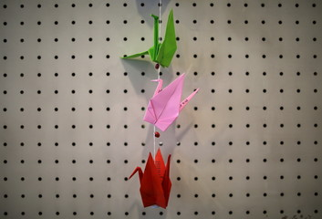 Origami cranes folded from pieces of paper with Japan's war-renouncing Article 9 written on them are displayed at an exhibition about the 1945 atomic bombings in Higashihiroshima