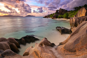 Wall Mural - Anse Source d'Argent beach at dusk, La Digue Island, Seyshelles