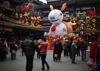 A giant rabbit lantern is seen among other Chinese New Year decorations at the Yuyuan Garden commercial area, downtown Shanghai