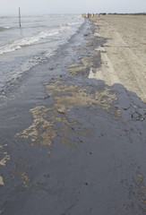 The beach is pictured covered in oil with clean-up workers in the background on the east end of Galveston Island