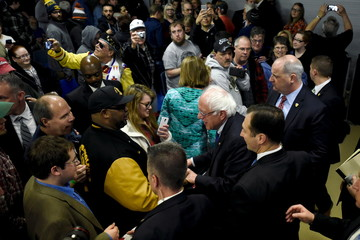 Democratic U.S. presidential candidate Sanders shakes hands with supporters after speaking at a campaign rally in Janesville, Wisconsin