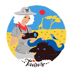 Vector illustration of Taurus zodiac sign.