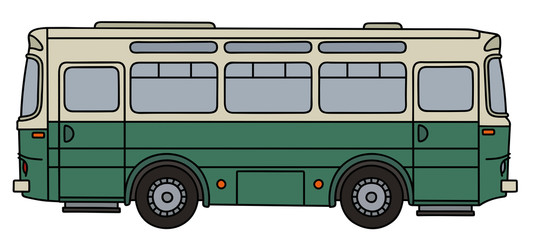 Old green and cream bus