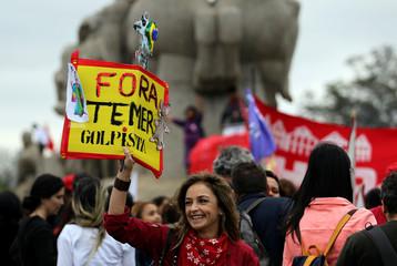 Demonstrators protest against President Michel Temer in Sao Paulo