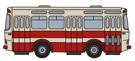 Old red and white city bus