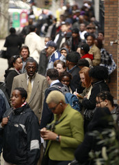 Job seekers stand in line to attend Dr. Martin Luther King Jr. career fair in New York