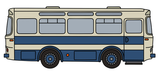Retro blue and white bus