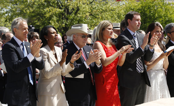 Friends and family of former U.S. President George W. Bush attend the dedication ceremony for the George W. Bush Presidential Center in Dallas