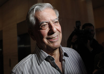 Mario Vargas Llosa, winner of the 2010 Nobel Prize for Literature, smiles while speaking to the media in New York