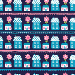 Vector illustration of seamless houses on a dark background. Model of houses. Wallpaper in the cartoon style with flowers and houses.