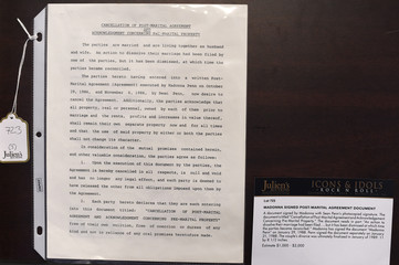 """Post-marital agreement document signed by Madonna is pictured on display at Julien's Auctions for the upcoming """"Icons & Idols: Rock n Roll"""" auction in Beverly Hills"""