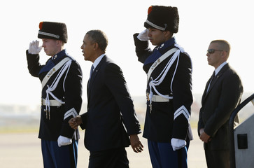 U.S. President Barack Obama arrives at Amsterdam Airport Schiphol in the Netherlands