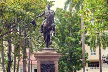 Aluminium Prints Historic monument Statue of the state founder Simon Bolivar in Bolivar Park Plaza in Cartagena de Indias Colombia