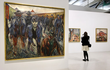 """The painting """"Workers on their way home"""" by Norwegian artist Edvard Munch is seen at the Centre Pompidou modern art museum in Paris"""