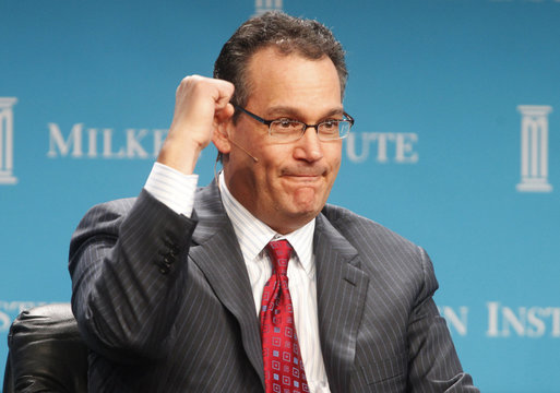 David Simon, chairman and CEO of Simon Property Group, gestures during the Milken Institute Global Conference in Beverly Hills