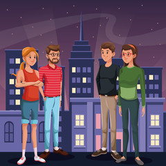 two couple young people - city at night in the background vector illustration
