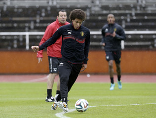 Belgium's soccer team player Witsel controls ball during training at squad's camp ahead of the World Cup in Stockholm
