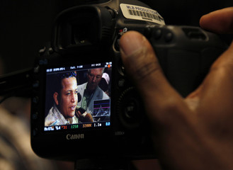 Tigers third baseman Miguel Cabrera is seen on a MLB camera as he is interviewed upon his arrival at the ball park in San Francisco