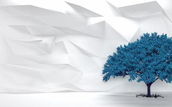 Blue Cherry Tree With White Wall Backdrop - 4k HD 300 DPI