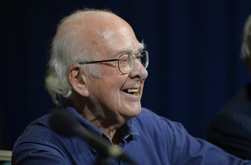 Nobel Prize winner Peter Higgs speaks at the University of Edinburgh in Scotland