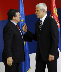 Serbia's President Tadic welcomes President of the European Commission Barroso in Belgrade