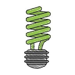 color crayon stripe cartoon fluorescent light bulb vector illustration