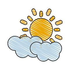 color crayon stripe cartoon sun and cloud weather icon vector illustration