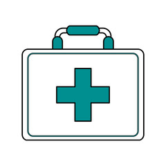 color silhouette image cartoon first aid kit with blue symbol cross vector illustration