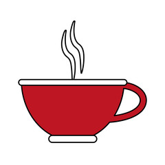 color silhouette image cartoon red porcelain cup of coffee with steam vector illustration