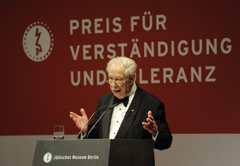 """Director of Jewish museum Blumenthal makes speech during  """"Understanding and Tolerance"""" awards ceremony at the museum in Berlin"""