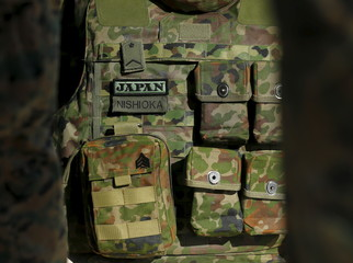 The flak jacket from a Japan's Ground Self Defense Force soldier is shown while training with U.S. Marines during the bilateral annual Iron Fist military training exercise in Camp Pendleton, California