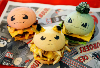 Pokeburgs, hamburgers in the form of Pokemon characters, are seen at Down N' Out Burger restaurant in Sydney