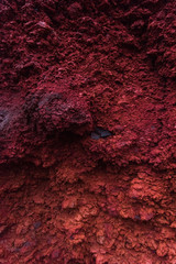 Volcanic porous red rocks in Iceland, texture