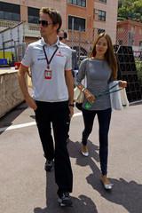 McLaren Formula One driver Button and his girlfirend Michibata arrive in the paddock area for the Monaco F1 Grand Prix in Monte Carlo